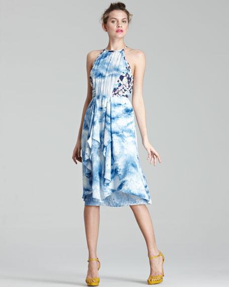 Mixed-Print Silk Dress