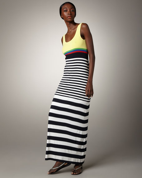 Striped Colorblock Maxi Dress
