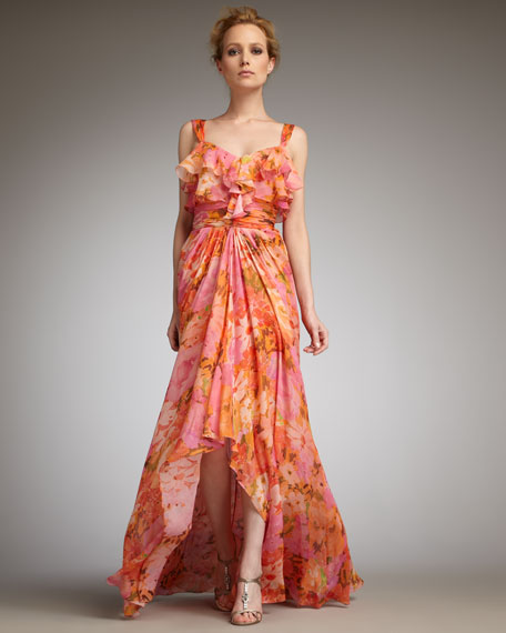 Ruffled Floral-Print Gown