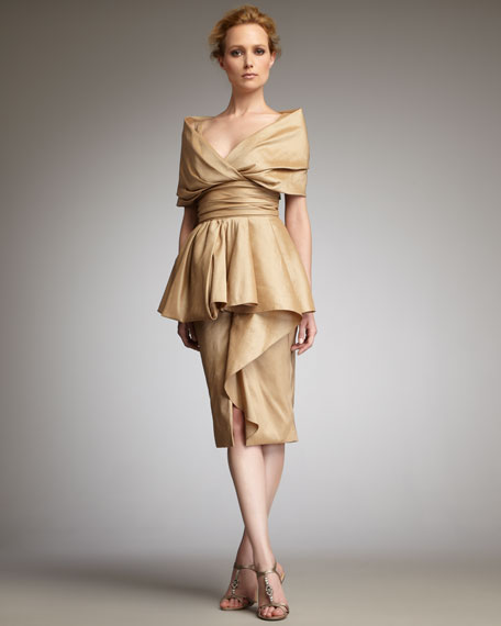 Badgley Mischka Portrait-Collar Peplum Dress