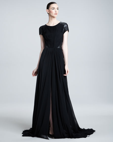 Leather-Inset Gown