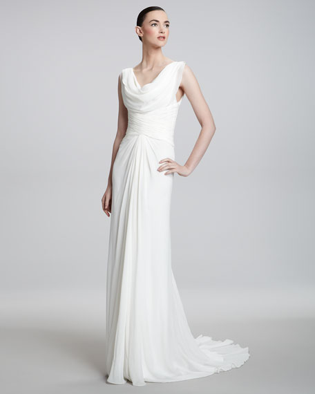 Cowl-Neck Chiffon Gown