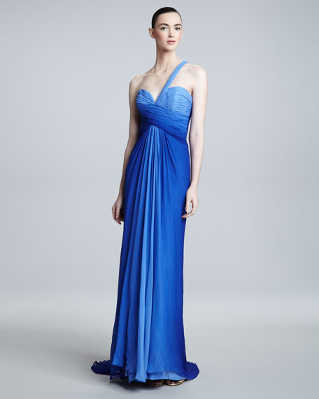 One-Shoulder Ombre Gown