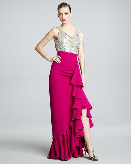 Metallic-Bodice Combo Gown