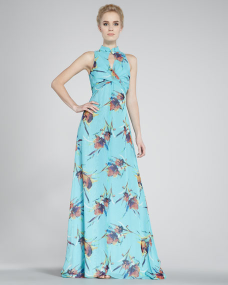 Mandarin-Collar Maxi Dress