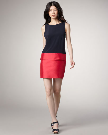 Eames Silk Colorblock Dress, Fuchsia