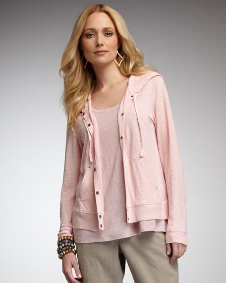 Linen-Jersey Hooded Jacket