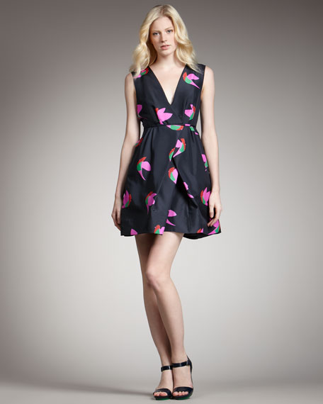 Bird-Print Taffeta Dress