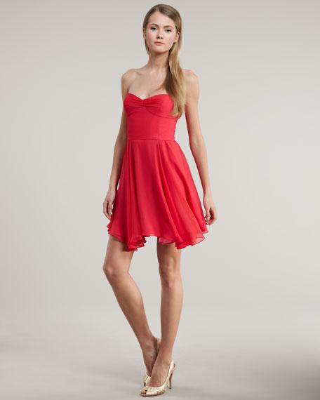 Asymmetric-Hem Chiffon Dress