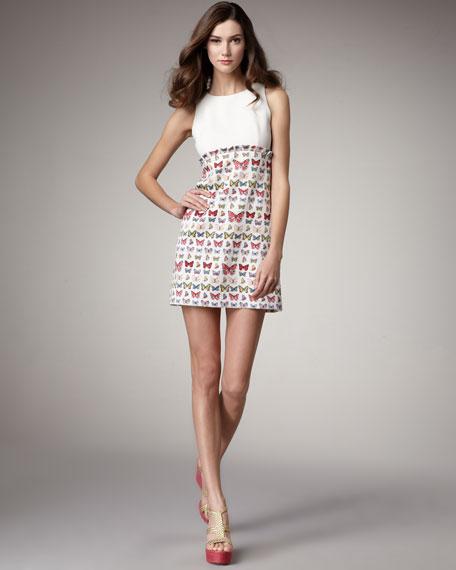 Butterfly-Print Combo Dress