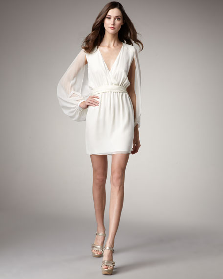 Long Illusion-Sleeve Dress