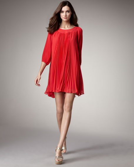 Plisse Shift Dress