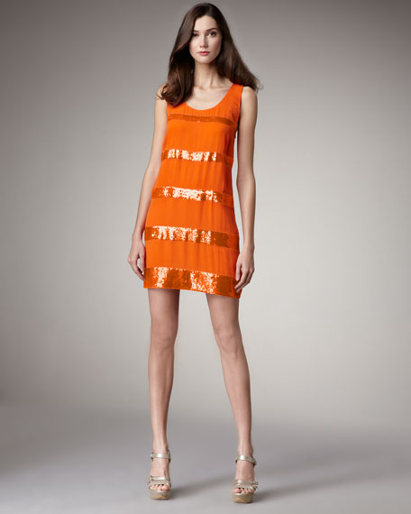 Sequin-Stripe Dress