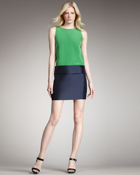 Eames Silk Colorblock Dress, Green