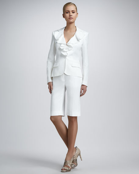 Long-Sleeve Ruffle-Front Shortsuit