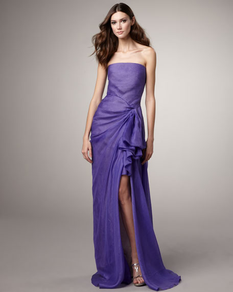 Organza Side-Ruffle Gown