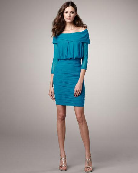 Off-the-Shoulder Blouson Dress