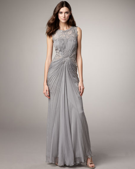 Beaded Chiffon Illusion Gown