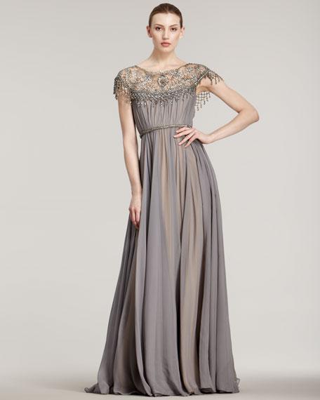 Illusion-Neck Full-Skirt Gown