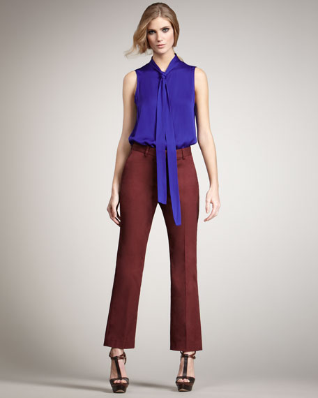 Anne Cropped Pants, Wine