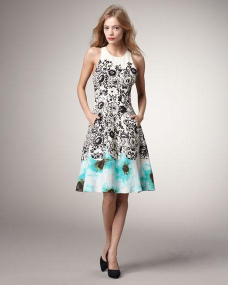 Mixed Floral Full-Skirt Dress