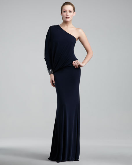 One-Sleeve Jersey Gown