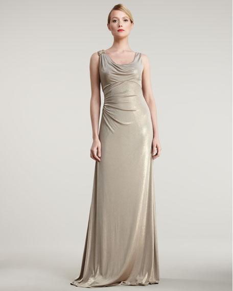 Scoop-Neck Metallic Gown