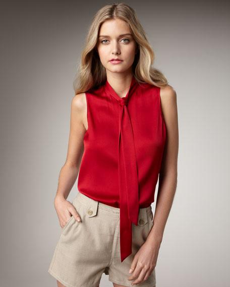 Jessica Sleeveless Tie-Collar Top