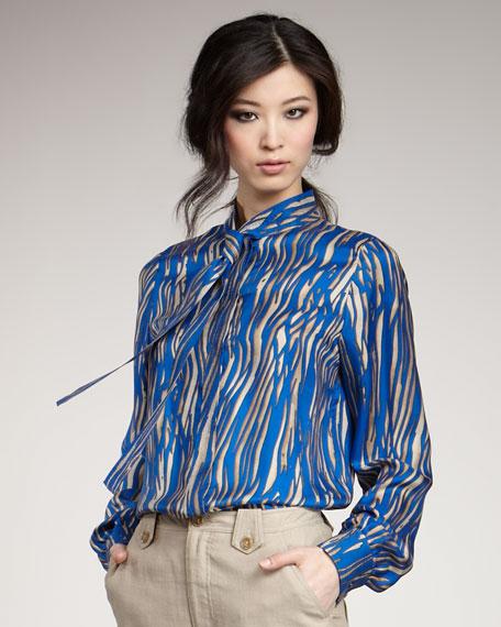 Sawyer Zebra-Print Tie-Collar Top