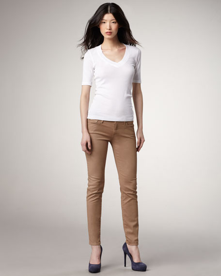 Skinny Golden Wheat Shimmer Cropped Jeans