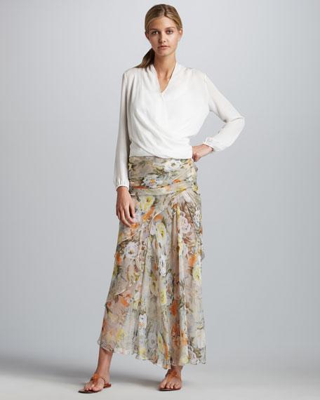 Shirred Silk Maxi Skirt