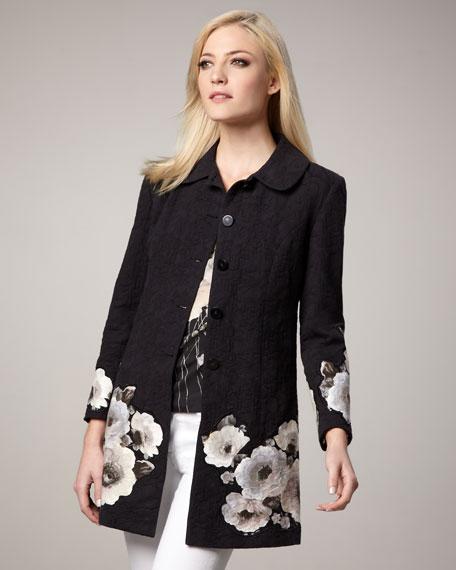 Floral-Print Jacquard Jacket