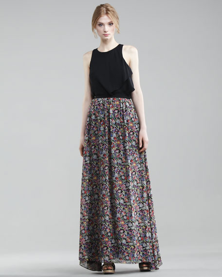 Floral-Printed Maxi Skirt