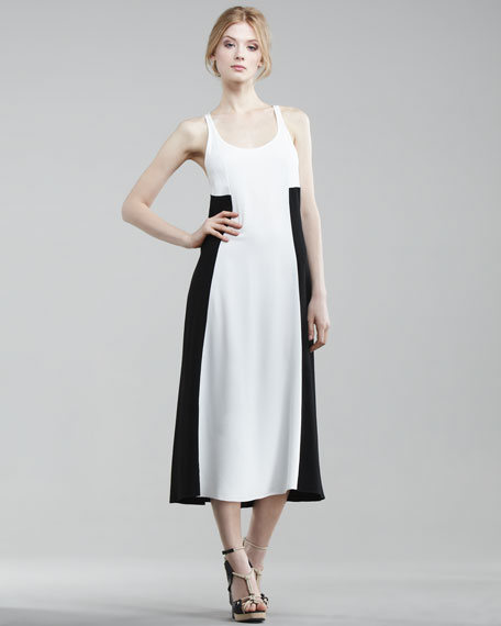 Tea-Length Colorblock Tank Dress
