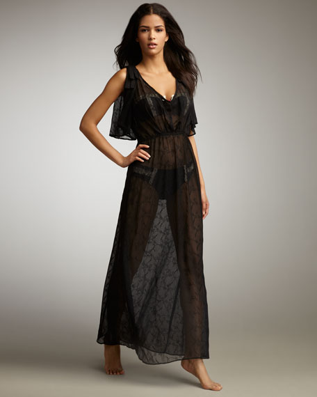 Betsey Johnson Love Notes Sheer Maxi Dress