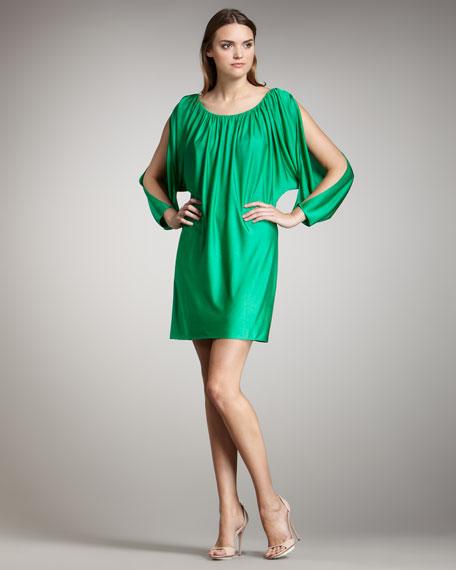 Long-Sleeve Cutout Shift Dress