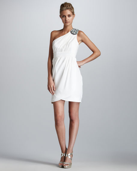 Beaded Melanee One-Shoulder Dress