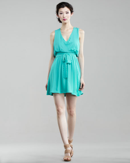 Scalloped Self-Tie Dress