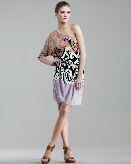 Jasmine One-Sleeve Printed Jersey Dress