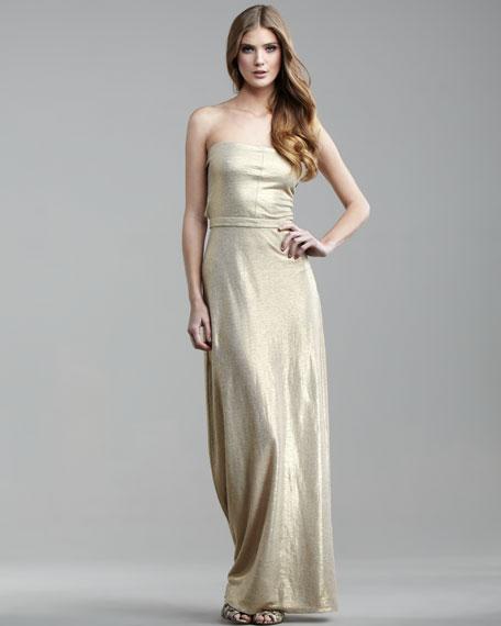 Metallic Linen Strapless Maxi Dress