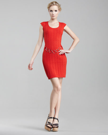 Cable-Knit Chain Dress