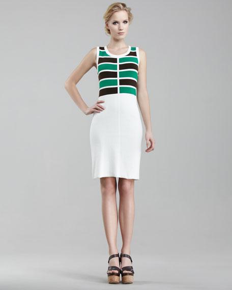 Eliza Checker-Stripe Dress