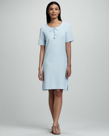 Pique Lace-Up Dress, Petite
