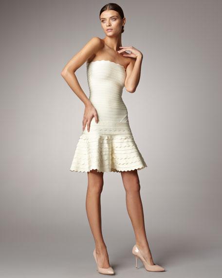 Scalloped Strapless Bandage Dress, Papyrus