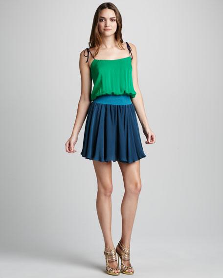 Colorblock Smock-Waist Dress