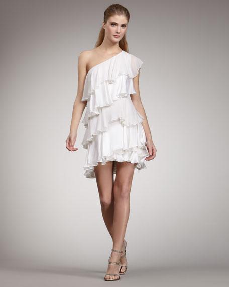 Tiered Ruffle Dress, White