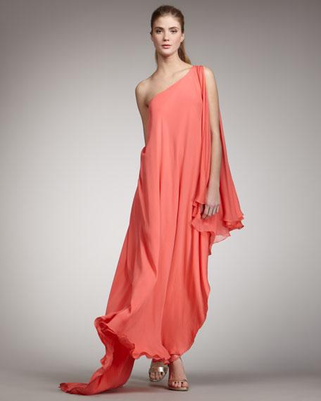 One-Shoulder Cascade Gown