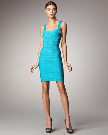 Sleeveless Square-Neck Bandage Dress
