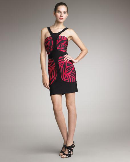 Printed Halter Dress, Fuchsia