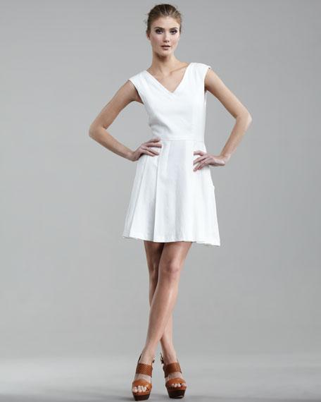 Pleated Twill Dress